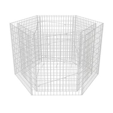 vidaXL Gabion plantekasse sekskantet 160x140x100 cm[2/5]