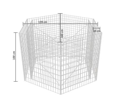 vidaXL Gabion plantekasse sekskantet 160x140x100 cm[5/5]