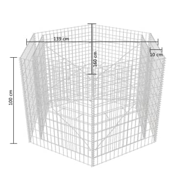 vidaXL Hexagonal Gabion Planter 160x140x100 cm[5/5]