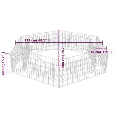 vidaXL Šešiakampis gabiono vazonas, 200x173x40 cm[5/5]