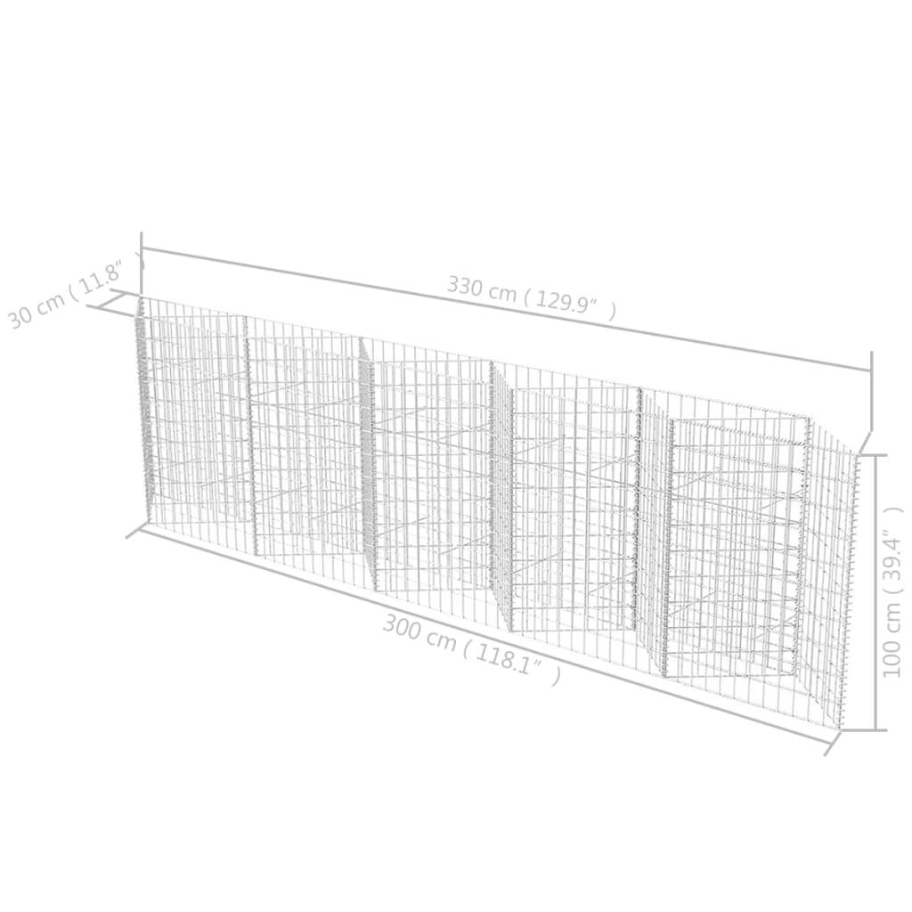 vidaXL Panier gabion//Jardinière// Parterre surélevé Acier 300x30x100 cm