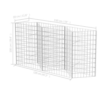 "vidaXL Gabion Basket/Planter/Raised Vegetable Bed 59""x11.8""x39.4""[6/6]"