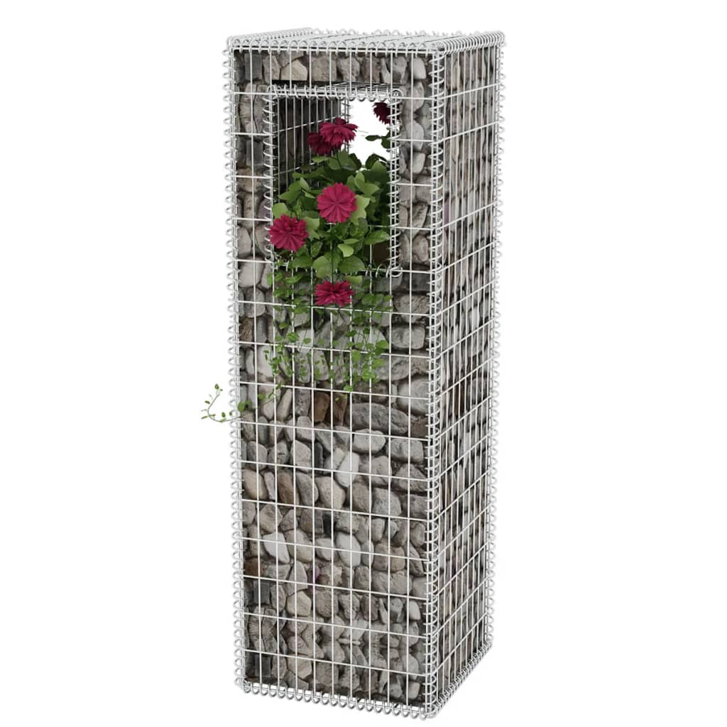 vidaXL Gabion Basket Post/Planter Steel 50x50x160 cm
