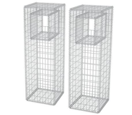 "vidaXL Gabion Basket Posts/Planters 2 pcs Steel 19.7""x19.7""x63"""