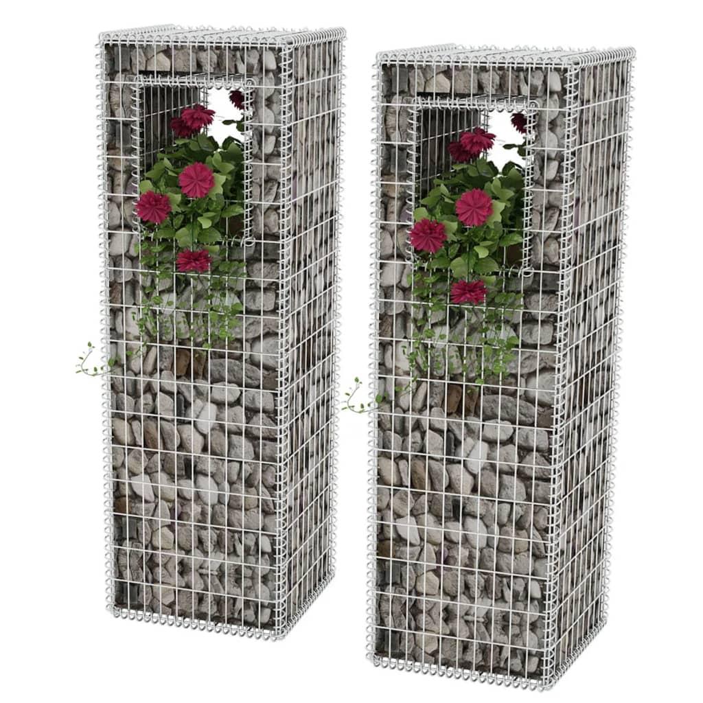 vidaXL Gabion Basket Posts/Planters 2 pcs Steel 50x50x160 cm