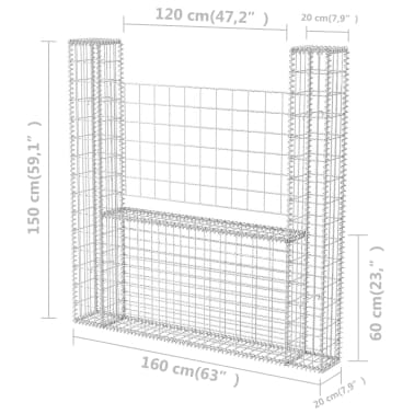vidaXL Panier de gabion en forme de U Acier 160 x 20 x 150 cm[6/6]