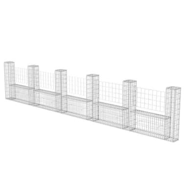 "vidaXL Gabion Basket U-Shape Steel 224.4""x7.9""x39.4""[2/5]"