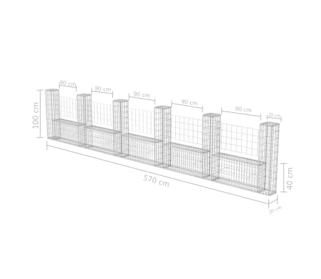 "vidaXL Gabion Basket U-Shape Galvanised Steel 224.4""x7.9""x39.4""[6/6]"