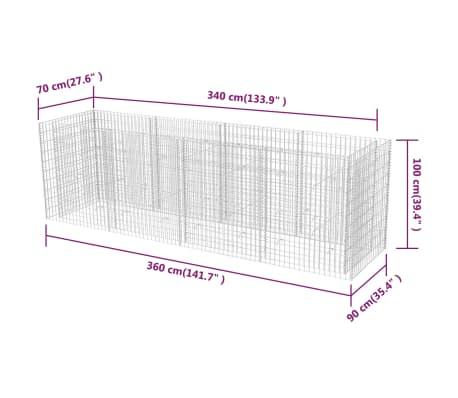 vidaXL Gabion stålpotte 360x90x100 cm[6/6]