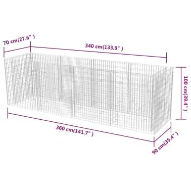 vidaXL Gabiono vazonas, plienas, 360x90x100 cm[6/6]