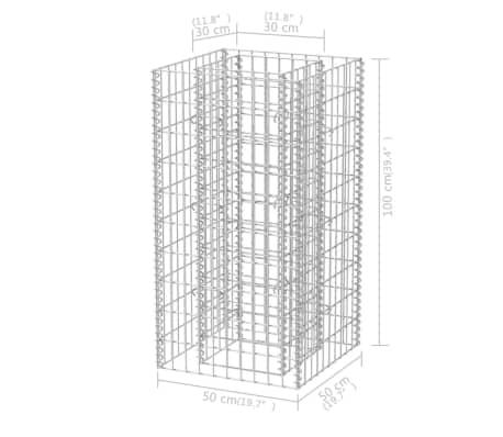 vidaXL Gabiono vazonas, plienas, 50x50x100 cm[6/6]