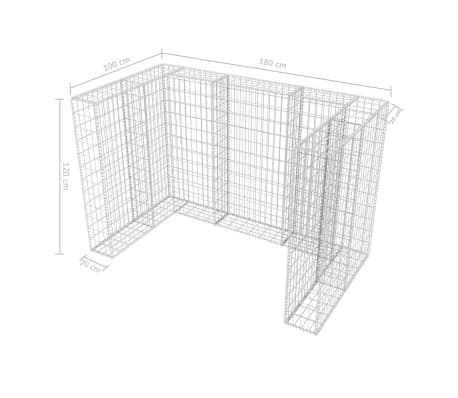 vidaXL Gabionsøppelskjulet stål 180x100x120 cm[8/8]