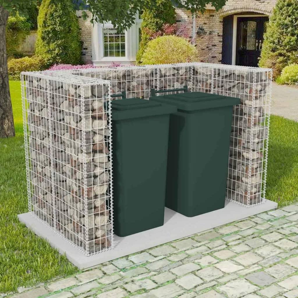 Gabionová zástěna pro 2 popelnice ocelová 180 x 100 x 120 cm