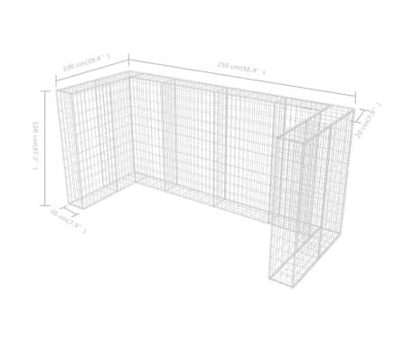 vidaXL Cadre de gabion de poubelle triple Acier 250 x 100 x 120 cm[9/9]