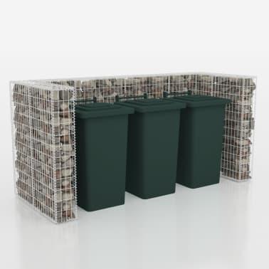 vidaXL Cadre de gabion de poubelle triple Acier 250 x 100 x 120 cm[3/9]
