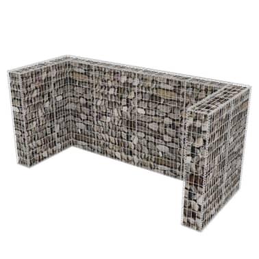 vidaXL Cadre de gabion de poubelle triple Acier 250 x 100 x 120 cm[4/9]