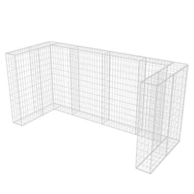 vidaXL Cadre de gabion de poubelle triple Acier 250 x 100 x 120 cm[6/9]