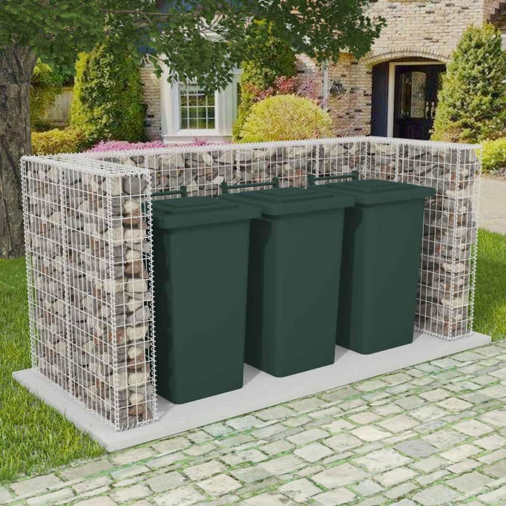 vidaXL Gabionová zástěna pro 3 popelnice ocelová 250x100x120 cm
