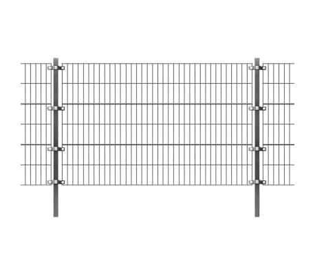 vidaXL Panel de valla y postes hierro recubrimiento polvo gris 6x1,2 m