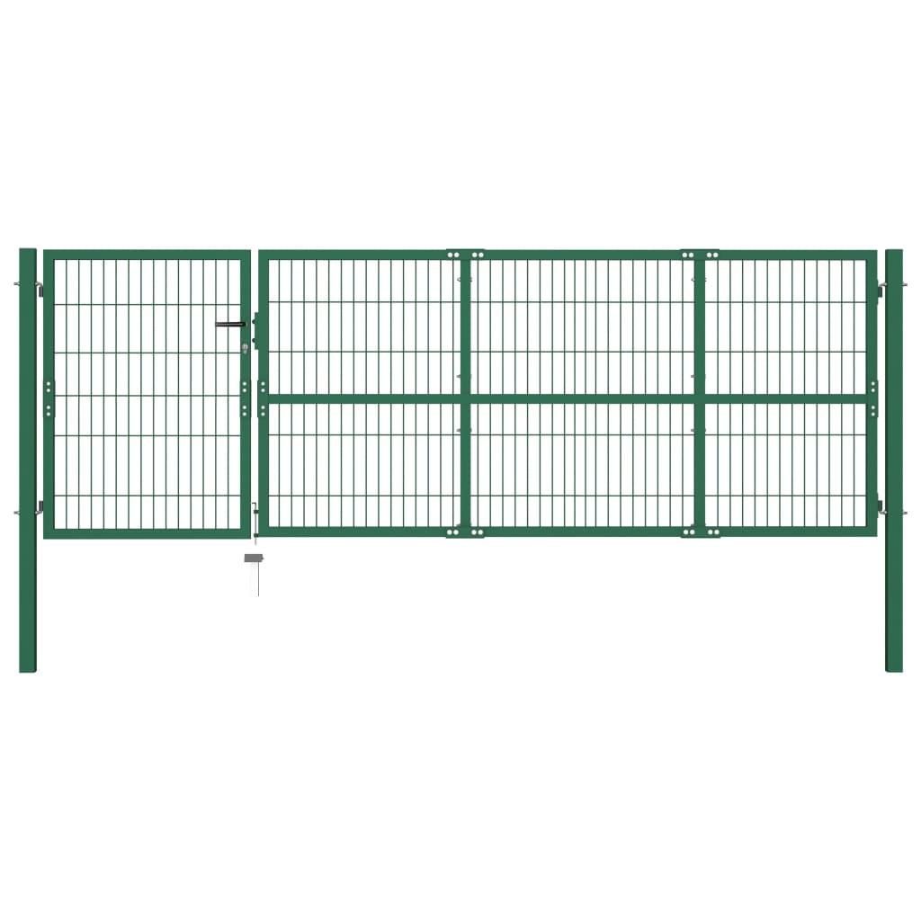vidaXL Poartă gard de grădină cu stâlpi, verde, 350 x 100 cm, oțel vidaxl.ro