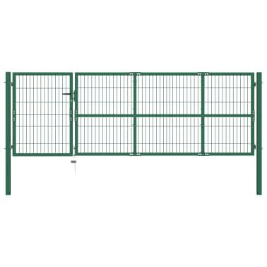 vidaXL Portail de clôture de jardin avec poteaux 350x100 cm Acier Vert[1/5]