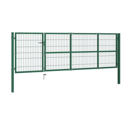 vidaXL Portail de clôture de jardin avec poteaux 350x100 cm Acier Vert[2/5]