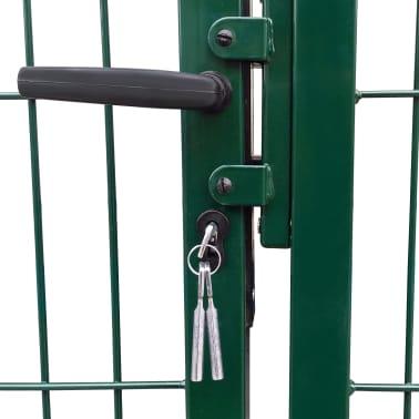 vidaXL Portail de clôture de jardin avec poteaux 350x100 cm Acier Vert[3/5]