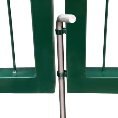 vidaXL Portail de clôture de jardin avec poteaux 350x100 cm Acier Vert[4/5]