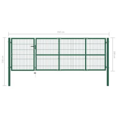vidaXL Portail de clôture de jardin avec poteaux 350x100 cm Acier Vert[5/5]