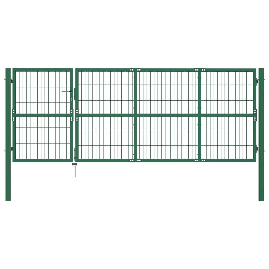 vidaXL Poartă gard de grădină cu stâlpi, verde, 350 x 120 cm, oțel vidaxl.ro