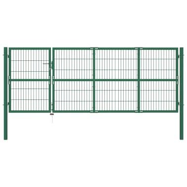vidaXL Portail de clôture de jardin avec poteaux 350x120 cm Acier Vert[1/5]