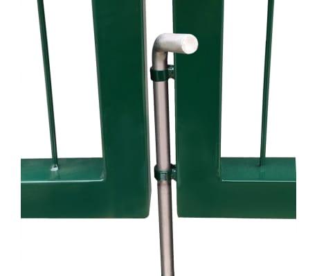 vidaXL Portail de clôture de jardin avec poteaux 350x120 cm Acier Vert[4/5]