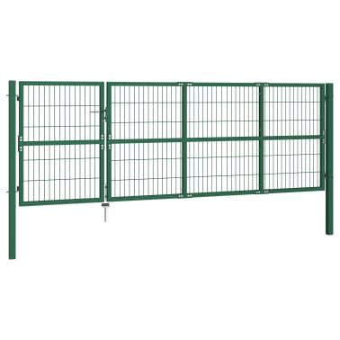 vidaXL Portail de clôture de jardin avec poteaux 350x120 cm Acier Vert[2/5]