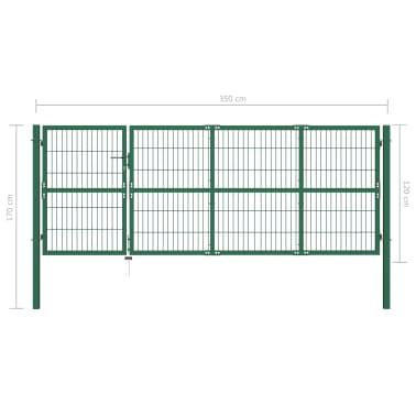 vidaXL Portail de clôture de jardin avec poteaux 350x120 cm Acier Vert[5/5]