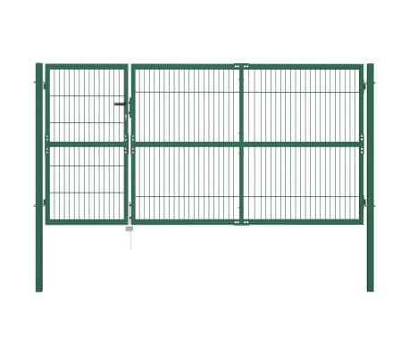vidaXL Portail de clôture de jardin avec poteaux 350x140 cm Acier Vert