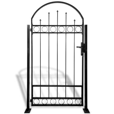 vidaXL Portail de clôture avec dessus arqué et 2 poteaux 100 x 200 cm[1/3]