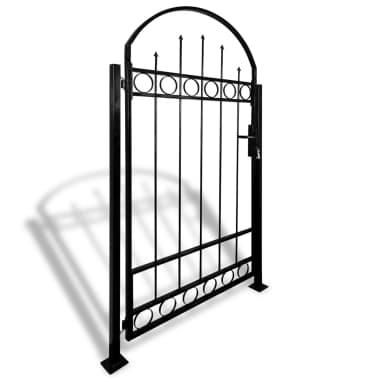 vidaXL Portail de clôture avec dessus arqué et 2 poteaux 100 x 200 cm[2/3]