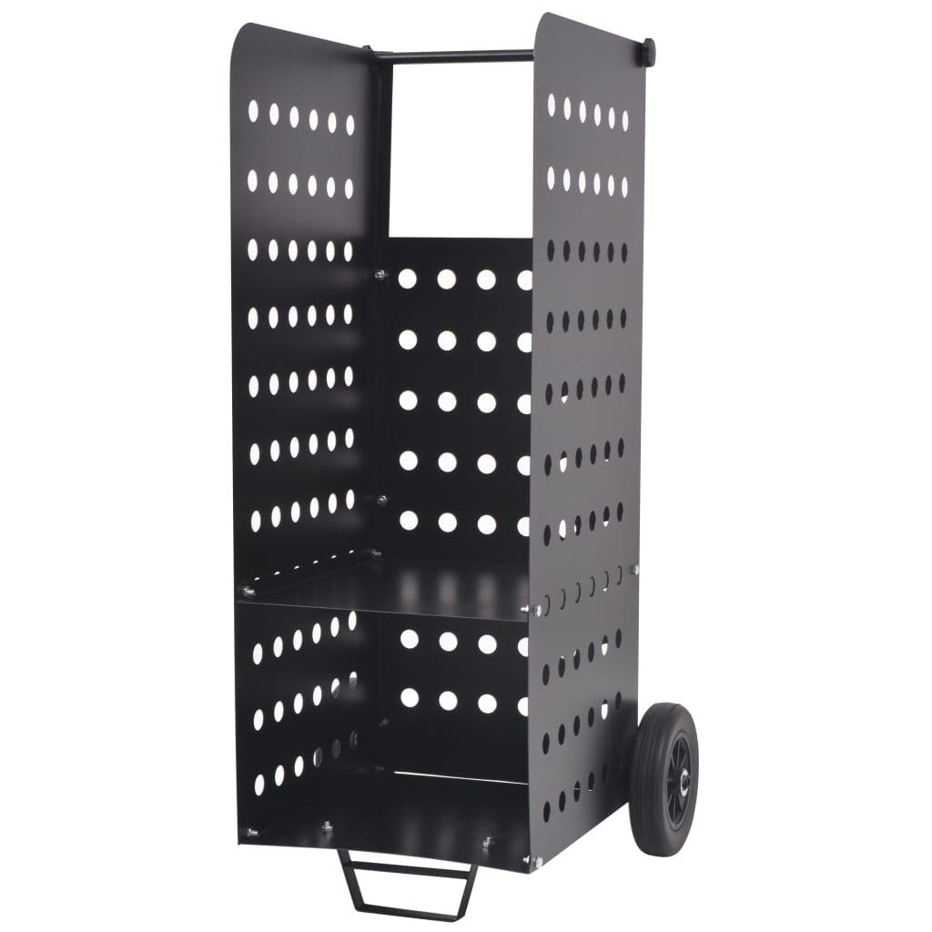vidaXL Vozík na palivové dřevo s plastovými kolečky, 36x42x105 cm