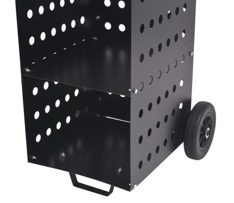 vidaXL tűzifa kocsi műanyag kerekekkel 36 x 42 x 105 cm[4/5]