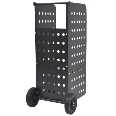 vidaXL tűzifa kocsi műanyag kerekekkel 36 x 42 x 105 cm[2/5]