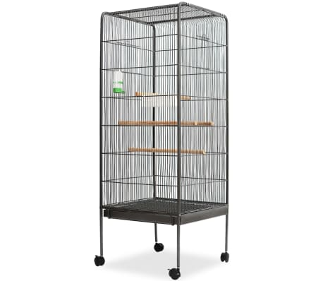 "vidaXL Bird Cage Black 21.3""x21.3""x57.5"" Steel"