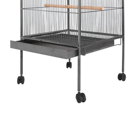 """vidaXL Bird Cage Black 21.3""""x21.3""""x57.5"""" Steel[2/6]"""