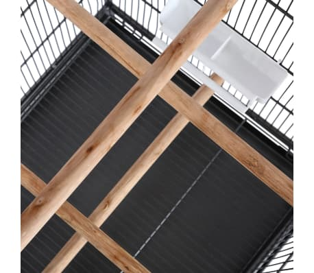 """vidaXL Bird Cage Black 21.3""""x21.3""""x57.5"""" Steel[5/6]"""