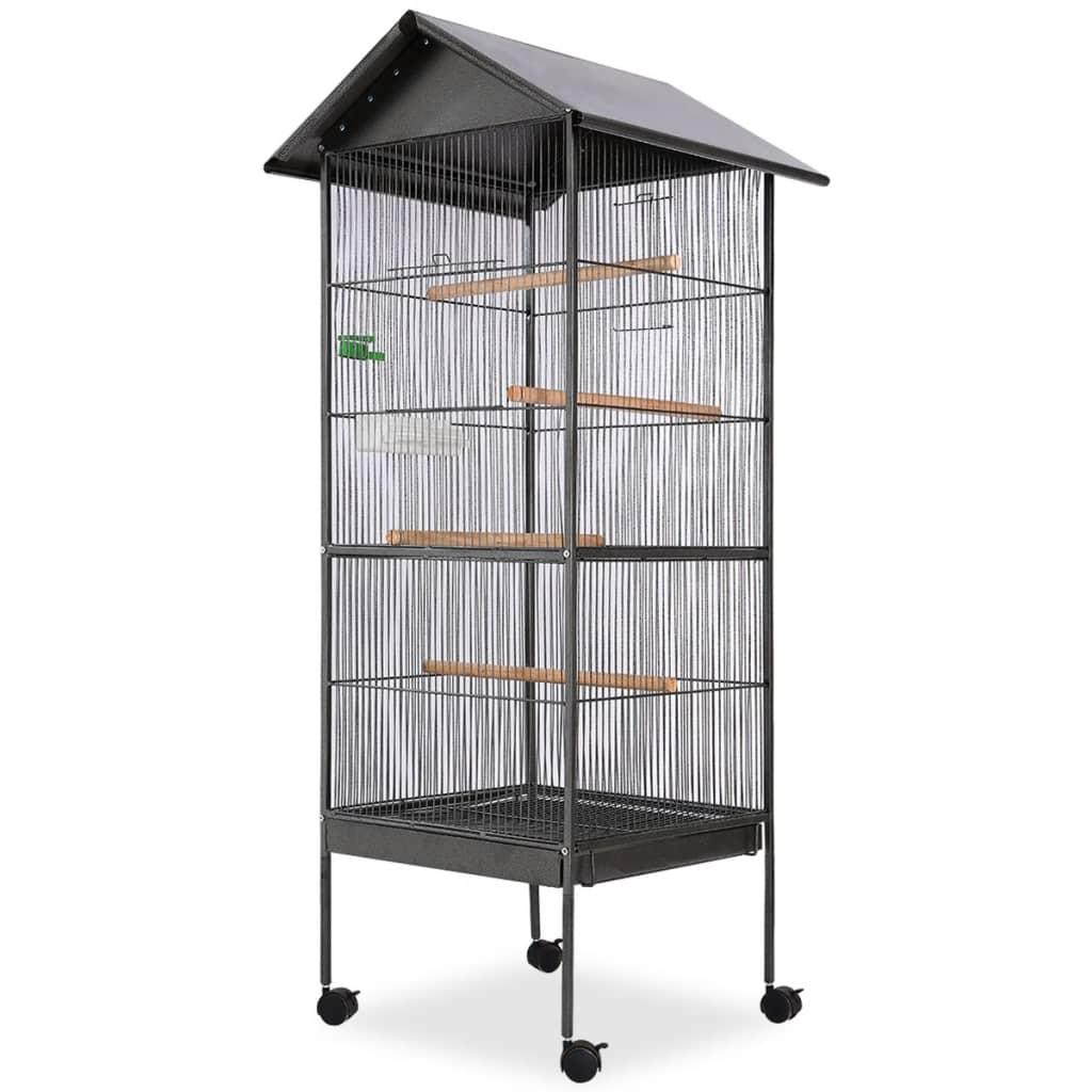 vidaXL Cușcă de păsări cu acoperiș, oțel, 66 x 66 x 155 cm, negru poza vidaxl.ro