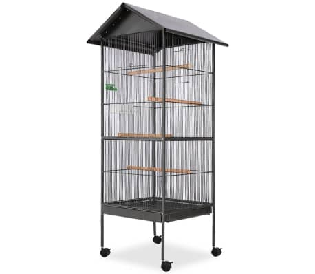 "vidaXL Bird Cage with Roof Black 26""x26""x61"" Steel[1/7]"