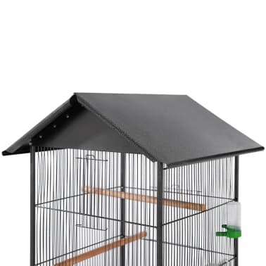 "vidaXL Bird Cage with Roof Black 26""x26""x61"" Steel[2/7]"