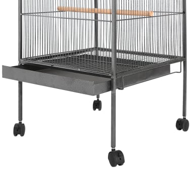 "vidaXL Bird Cage with Roof Black 26""x26""x61"" Steel[3/7]"