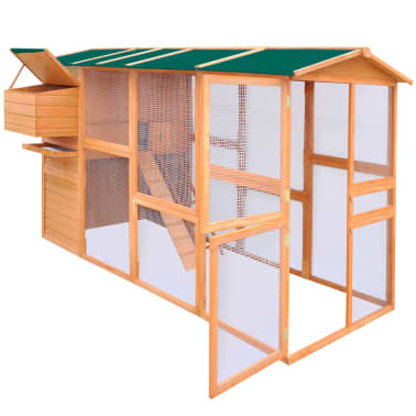 "vidaXL Chicken Coop Wood 116""x64.2""x67""[3/8]"