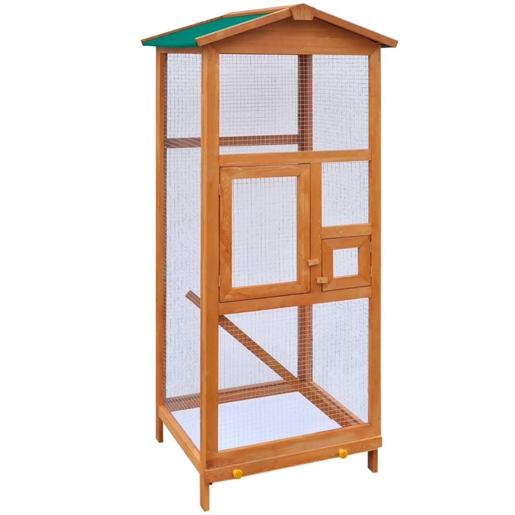 vidaXL Cușcă de păsări din lemn, 65 x 63 x 165 cm vidaxl.ro