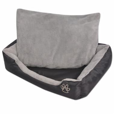 vidaXL suņu gulta ar polsterētu spilvenu, XL izmērs, melna[1/5]